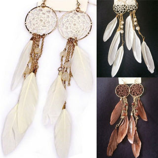 Charm Bohemia Feather Beads Long Dream Catcher Earrings