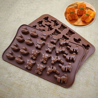 24 Grid Chocolate Molds Gummy Candy Tray Duck Bunny Bear Silicone Maker Moulds