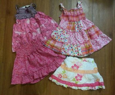 ☺ 4pc Size 12m Baby Girls Clothes Dress Lot Dresses and Skort Skirt Free Shipping