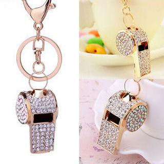 Colorful Rhinestone Whistle Car Women Crystal Keyring Handbag Jewelry Keychain