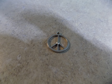 Peace sign silvertone charm