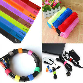 Fashion Straps Wrap Wire Cable Holder Tie Rope For PC TV Use 10PCs/Packet