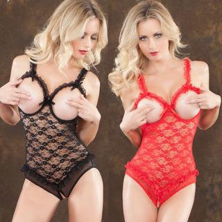 [GIN FOR FREE SHIPPING] Women Lace Sexy Lingerie Nightwear G-string Babydoll Sleepwear