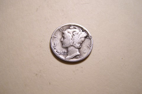 Silver 1936 Winged Liberty Head Mercury Dime