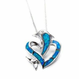 Fashion Women Heart-shaped Dolphin Silver Chain Blue Fire Opal Pendant