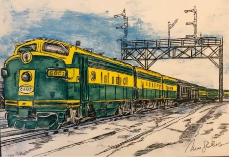 """Green Streamliner - 5 x 7"""" Art Card by artist Nina Struthers - GIN ONLY"""