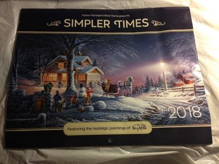 Brand New 2018 Wall Calendar. Free To Ship!