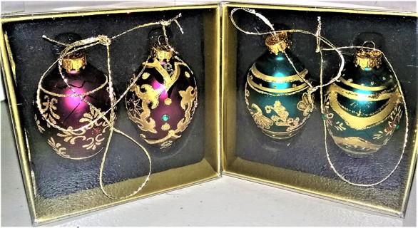 """4 Treasured glass Christmas ornaments - 2 1/2"""" high - unused - NIP"""