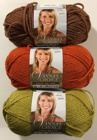 Vanna's Choice Lion Brand Acrylic Yarn Lot of 3 Skeins Harvest Colors: Toffee, Pea Green, Terracotta