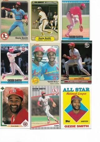 (9) Ozzie Smith Baseball Cards