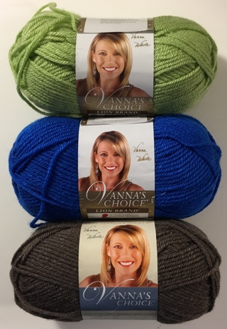 Vanna's Choice Lion Brand Acrylic Yarn Lot of 3 Skeins 170 yds each Sweet Pea/Electric Blue/Taupe