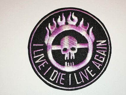 Skull Live i die i Live Again Embroidered Cloth Iron On Patch