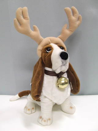 Free Holiday Hush Puppies Dog Plush Bell Reindeer Antlers Stuffed