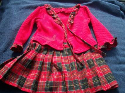 size 2t red dress with checkered skirt girls