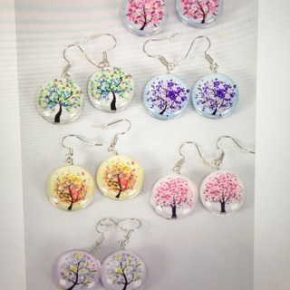 6 Pack Tree Of Life Double Sided Glass Dome Earring Lot