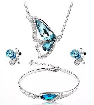 New Butterfly Jewelry Sets Necklace + Earring+Bracelet Crystal Set