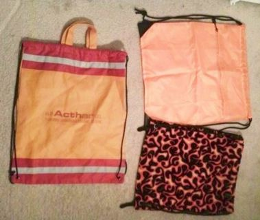 Pull String Back Pack Bag Lot Includes (3) FREE SHIPPING