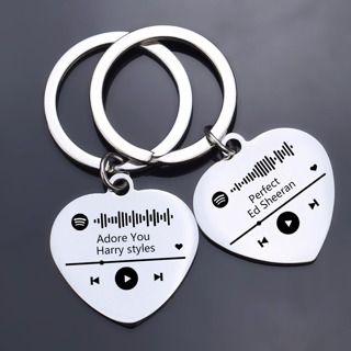 Custom Your Spotify Scan Code Keychain Customized Letter Stainless Steel Heart