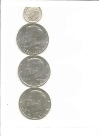 1964 Silver Dime and 3 very old kennedy half dollars
