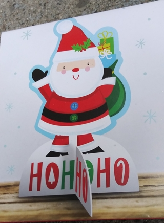 CHRISTMAS SANTA GLITTER DECOR STAND UP  6.125 INCHES CONTENTS 1