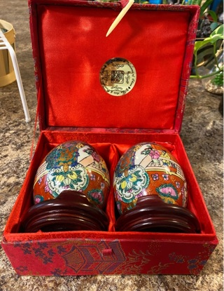 2 Chinese Decorative Eggs with stands and box