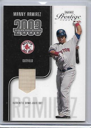 2003 playoff prestige manny ramirez game used bat card,#d88/325,red sox