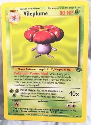 Original Jungle Vileplume 31/64 Rare Unlimited Jungle Unlimited Singles Pokemon Card TCG