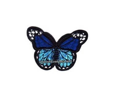 Blue Monarch Butterfly Embroidered Sew-on Patch