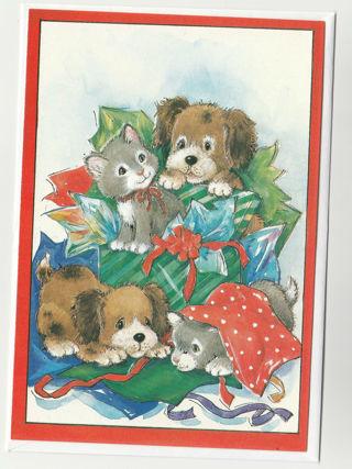 Christmas Card Unused With Envelope puppies & Kittens (raised)