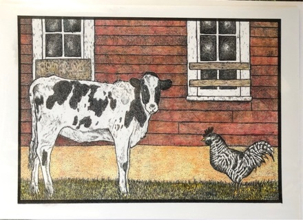 """Calf and Rooster - 5 x 7"""" Art Card by Nina - GIN ONLY"""