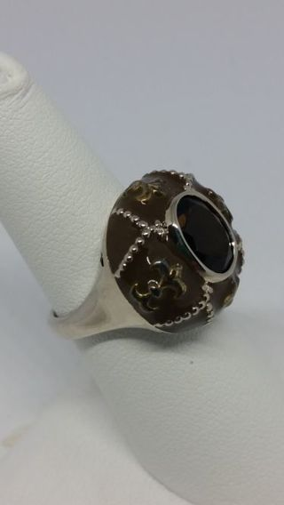 Sterling Silver Smoky Quartz and Brown Enameled Fleur de Lis Ring