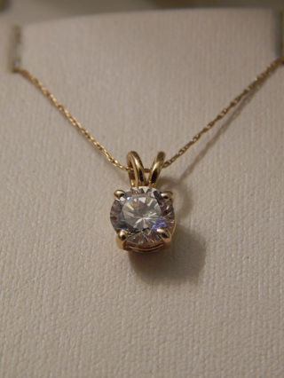 "GORGEOUS 1.3CT DIAMOND IN  REAL 14KT YELLOW GOLD W/ 20"" 14KT GOLD CHAIN"