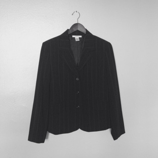 Merona Black Pinstriped Blazer Jacket, Size Large