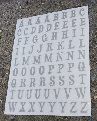 SILVER GLITTER LETTERS OF THE ALPHABET STICKERS