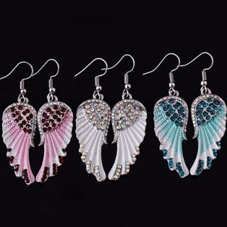Vintage Angel Wing Feather Dangle Crystal Earring Long Chandelier Drop Earrings