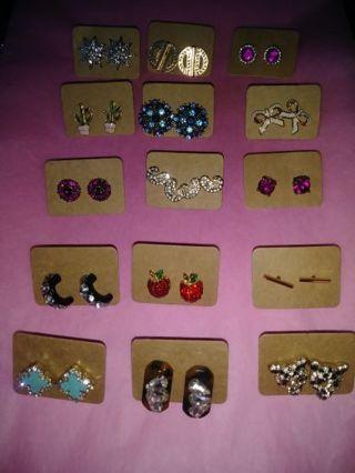 15 pairs of post earrings