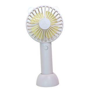Mini Fan Cute Bear Shaped Desk Fan Rechargable with w/ Base for Home White