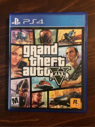 LIKE NEW PS4 Grand Theft Auto V w/ Collectible Map (Playstation 4) GTA 5