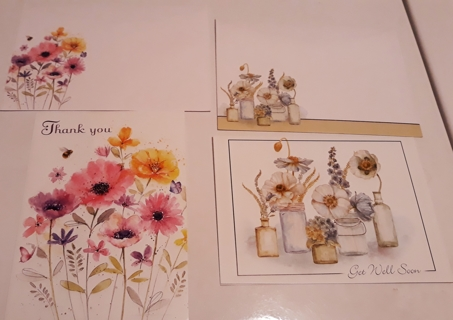 """⚘❀2 Floral Cards """"Thank You"""" and """"Get Well Soon"""""""