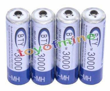 4pc AA 3000mAh 2A 1.2V volt Ni-MH Rechargeable Battery BTY Cell for MP3 RC Toys