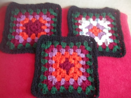 Lot of 3 Granny Square, Hand Crocheted Dish/Wash Cloths