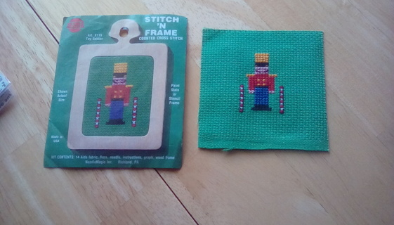 Cross stitched toy soldier with frame