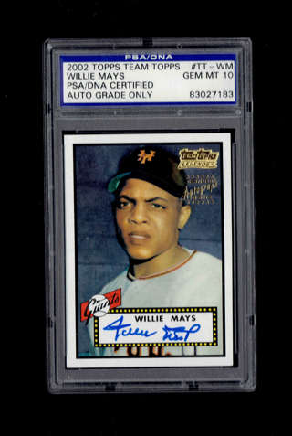 Signed 2002 Topps #TT-WM Willie Mays Autographed PSA/DNA Certified Graded Gem Mint 10 Auto FREE SHIP