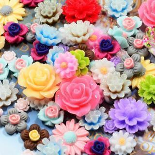 [GIN FOR FREE SHIPPING] 50x Resin Beads Rose Flower Flat Back Embellishment Cabochons