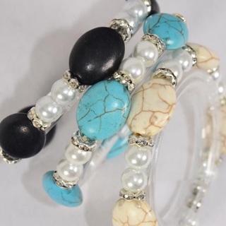 6 Pack 8 MM Glass Pearl Bracelet Lot