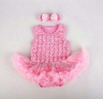 New born infant baby girl pinky rose romper bodysuit dress+ headband clothes