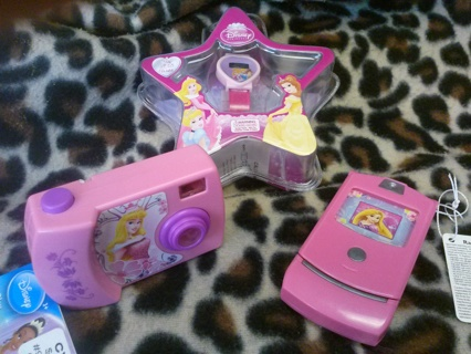 NWT Awesome Disney Princess Toy Lot Cell Phone Digital Camera and Watch for Halloween or Play Time