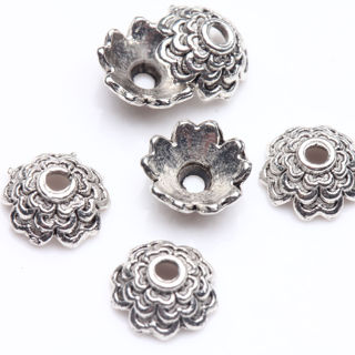 100PCs Tibet Silver Plated Flower Spacer Bead Caps Jewelry Findings DIY