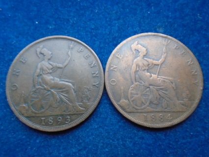 1884 & 1893 ENGLAND ONE PENNY'S FULL BOLD DATES!