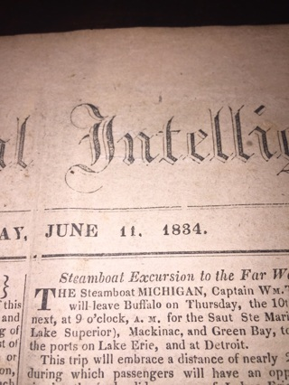184 year old news paper The National Intelligence - dated June 11, 1834 - Free Shipping!